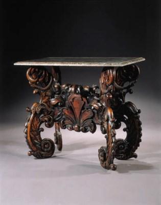 A Dutch walnut side table