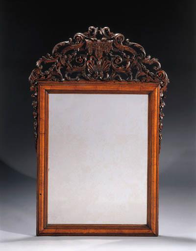 An Anglo-Dutch walnut mirror