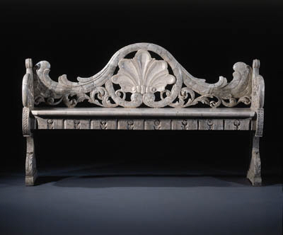 A Dutch marbleised hall bench