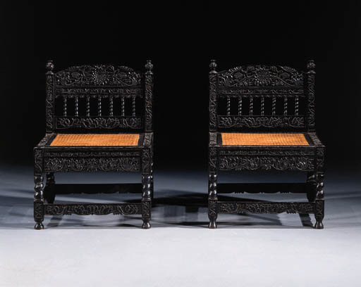 A pair of Dutch colonial ebony