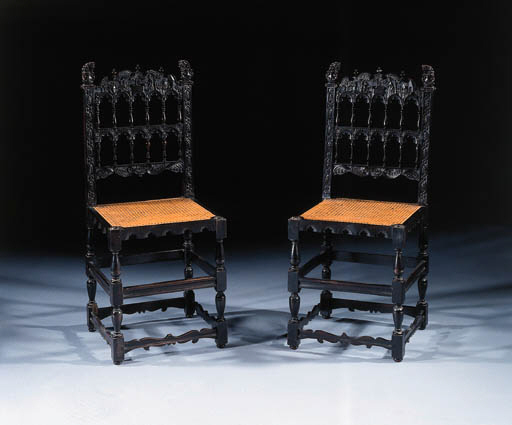 A pair of Dutch ebony chairs