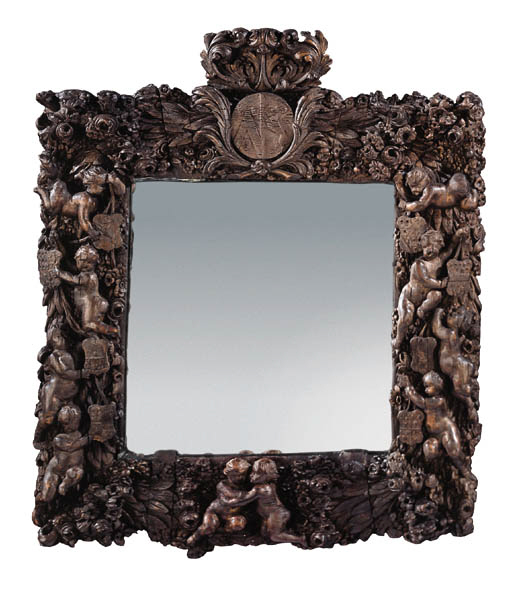 A Dutch carved stained mirror