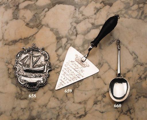 A Dutch silver memorial spoon