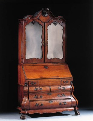 A Dutch mahogany bureau-cabine