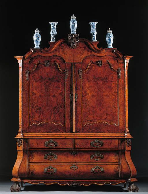 A Dutch figured walnut cabinet
