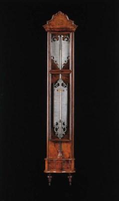 A Dutch walnut cistern baromet