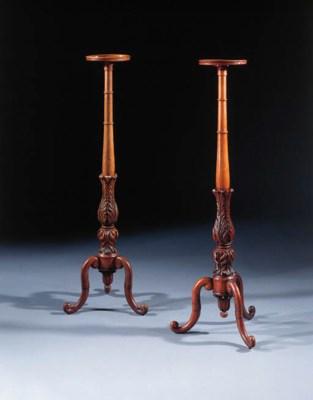 A pair of Dutch mahogany torch