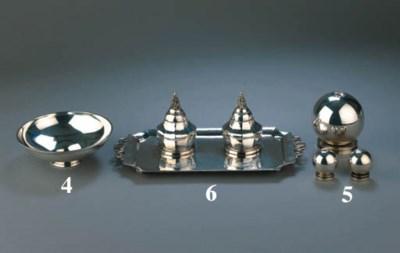 A Danish silver inkstand