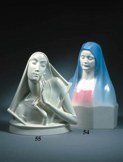 A glazed porcelain bust of the