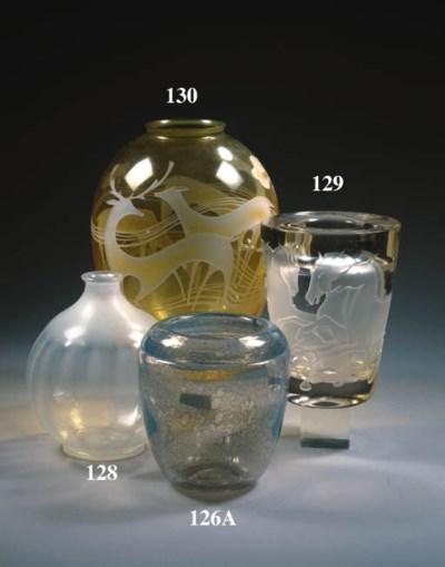 a sand-blasted glass vase