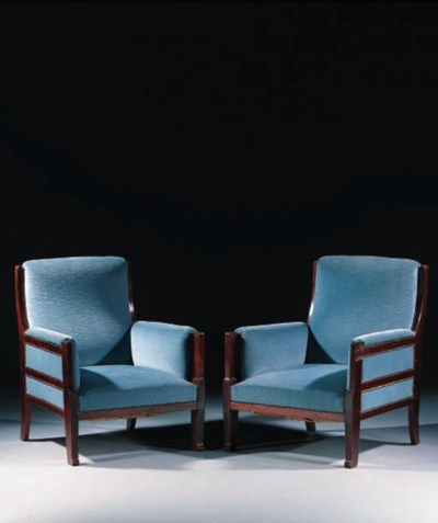 A PAIR OF MAHOGANY EASY-CHAIRS
