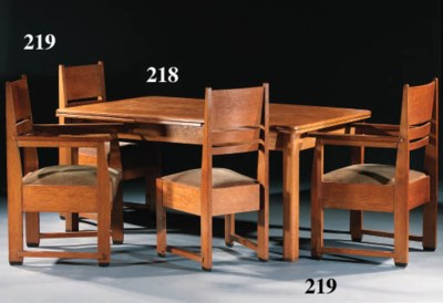 A SET OF EIGHT OAK SIDE-CHAIRS
