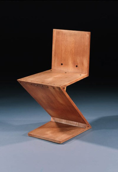 AN OAK 'ZIG-ZAG' CHAIR