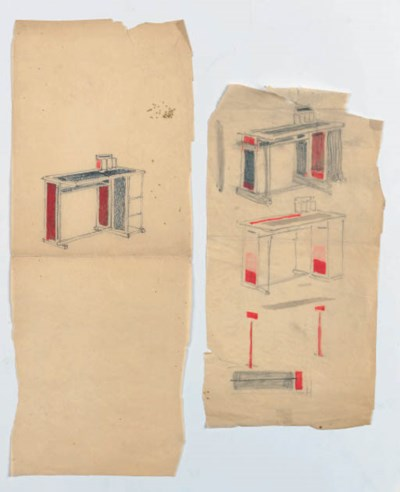 TWO SKETCHES OF A DESK