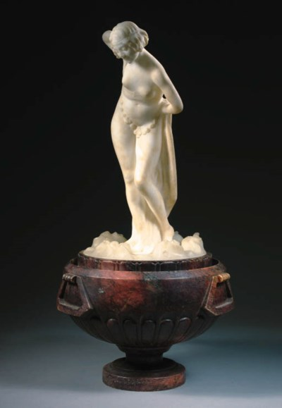 A MARBLE AND ALABASTER FIGURAL