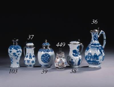 Three blue and white jars