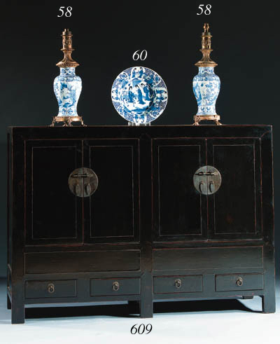 A pair of blue and white mount