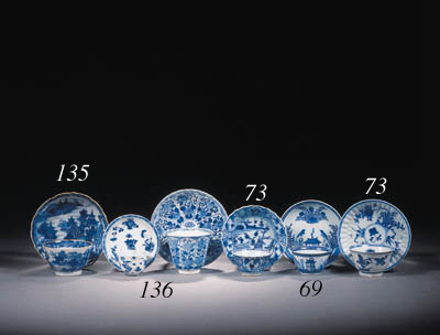 Four sets of blue and white an