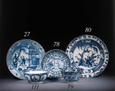 A blue and white large dish