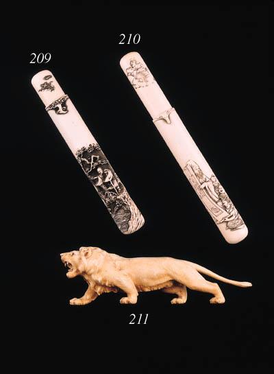 An ivory figure of a lion