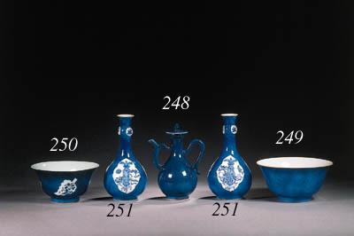 A pair of powder-blue bottle v