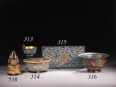 A cloisonne enamel bowl and a