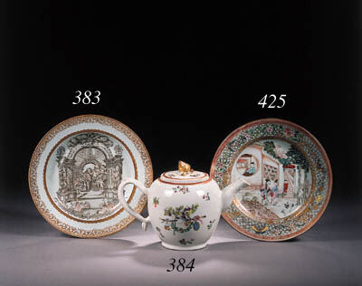 An armorial ovoid teapot and c