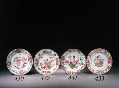 A set of six famille rose plat