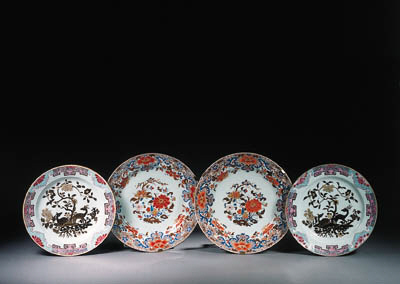 Two pairs of famille rose dish