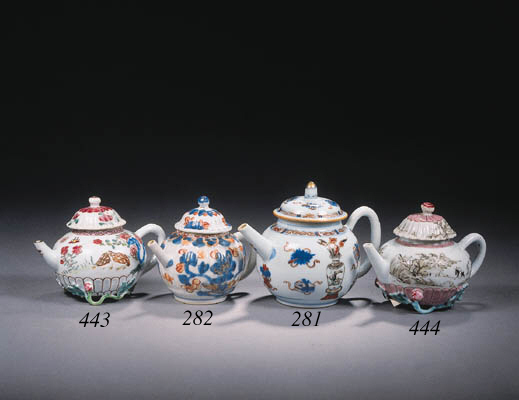 Two famille rose teapots and a