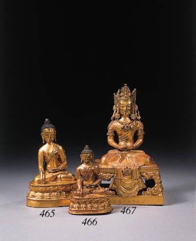 Two Tibetan gilt-bronze figure