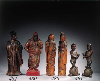 Two lacquered wood figures of