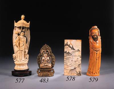 A Sino-Tibetan ivory and gilt-