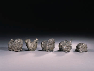 A group of five silver Khmer b