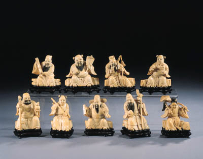 An ivory set of nine Immortals