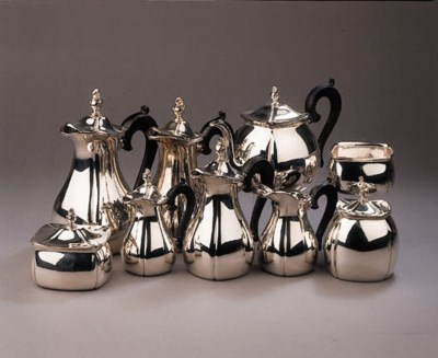 A Dutch silver nine-piece tea