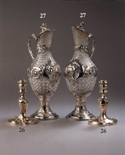 A pair of cut-glass silver mou