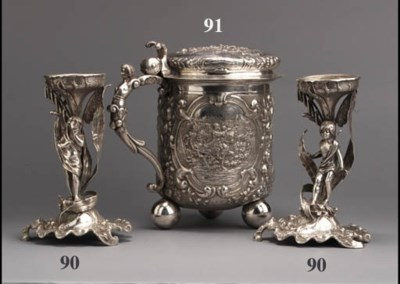 Two Russian silver stands