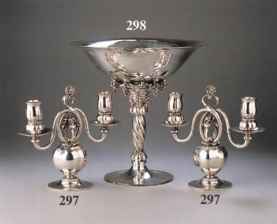 A pair of Danish silver two-li