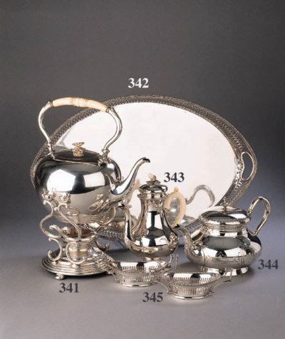 A Dutch silver tea kettle, sta