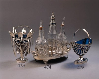 A Dutch silver sugar basket
