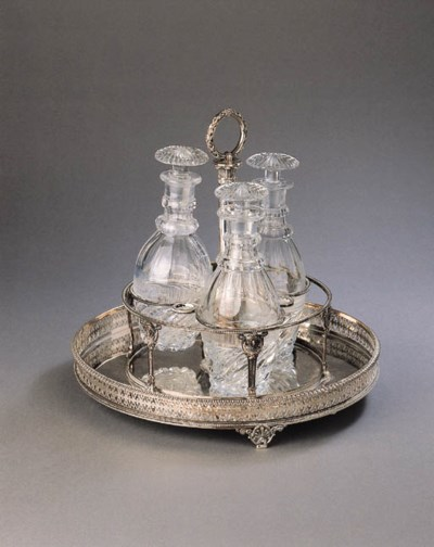 A French silver liqueur stand