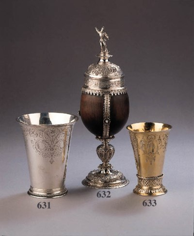 A silver mounted and wood cup