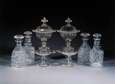 eight various cut-glass items
