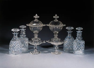 eight various cut-glass items