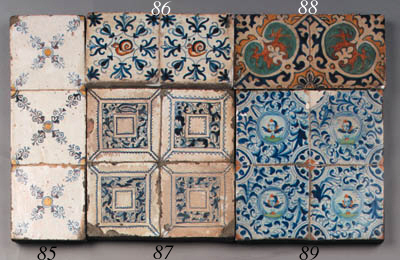 six dutch delft blue and white ornamental tiles