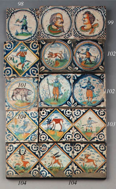 a panel with two dutch delft d