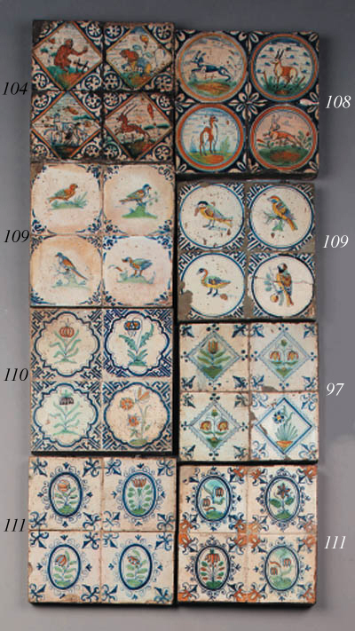 eight dutch delft flower tiles