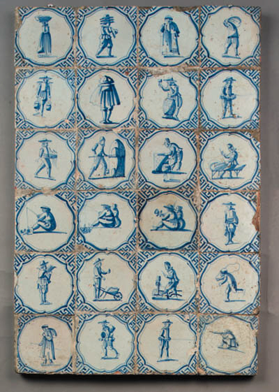 a panel with twentyfour dutch delft blue and white figurative tiles