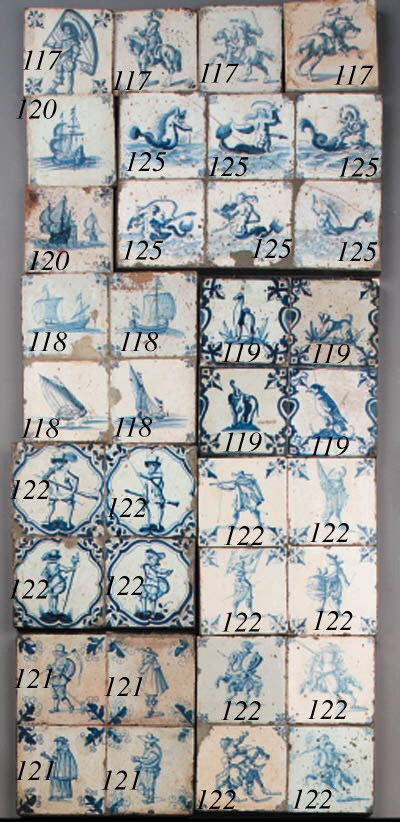 five dutch delft blue and whit